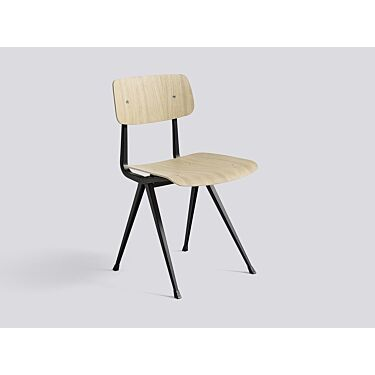 Stol HAY Result Chair, Matt Oak Veneer, Black Powder Coated Steel